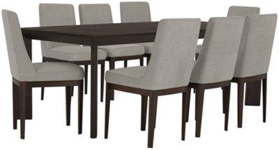 Rylan Dark Tone Rectangular Table & 4 Upholstered Chairs