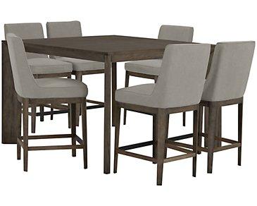 Rylan Gray High Table & 4 Upholstered Barstools
