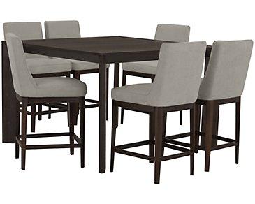 Rylan Dark Tone High Table & 4 Upholstered Barstools