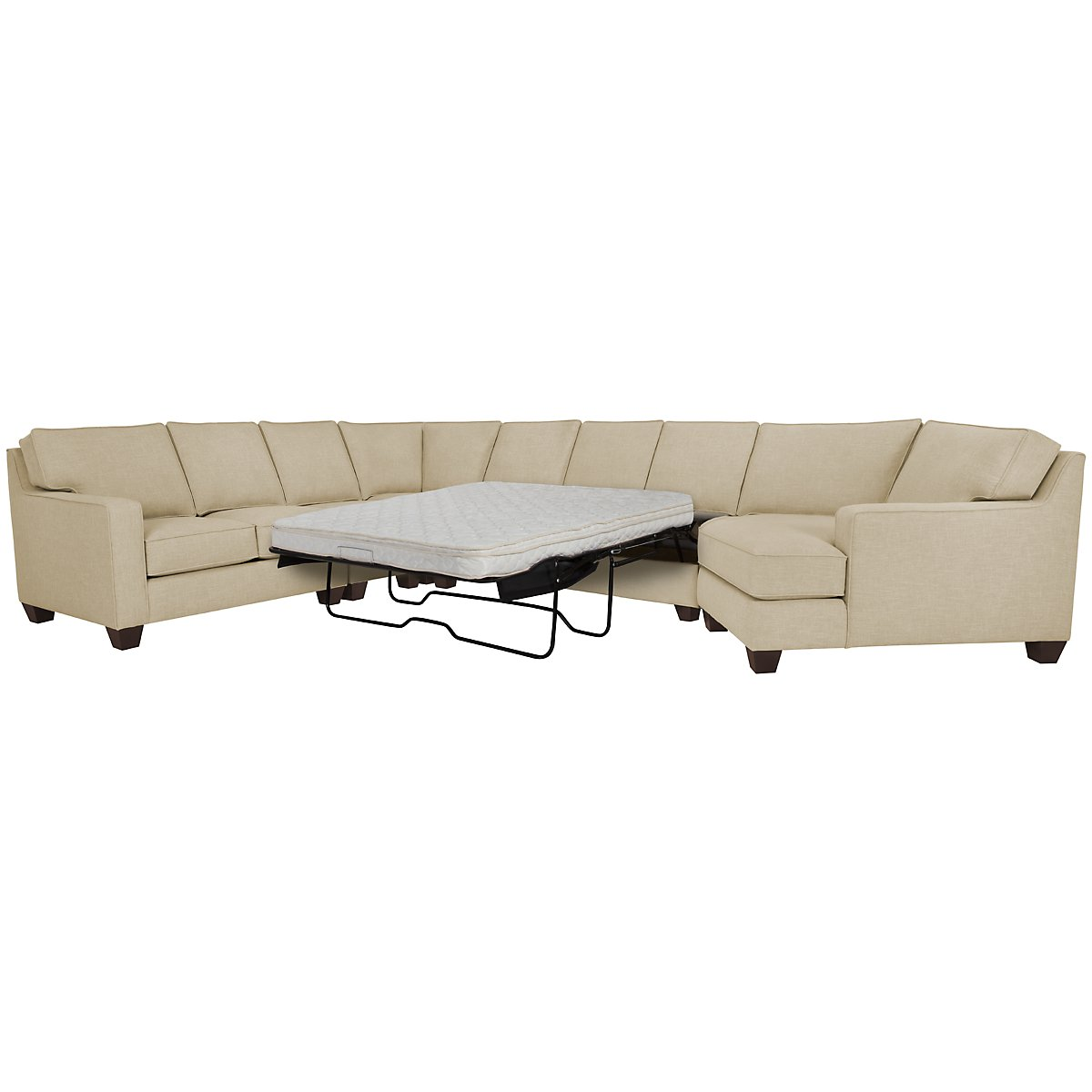 York Beige Fabric Large Right Cuddler Innerspring Sleeper Sectional