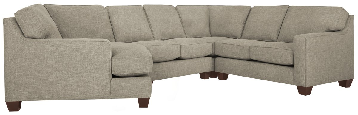 York Pewter Fabric Small Left Cuddler Sectional