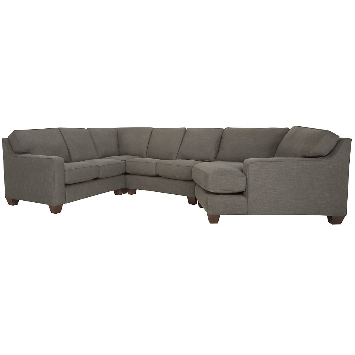 City furniture york dark gray fabric small right cuddler for Small sectional sofa with cuddler