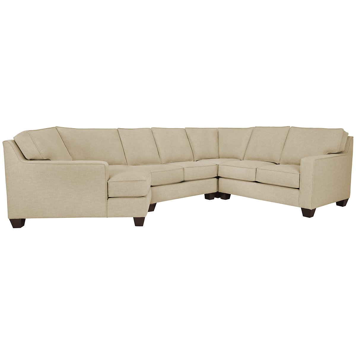 York Beige Fabric Small Left Cuddler Sectional