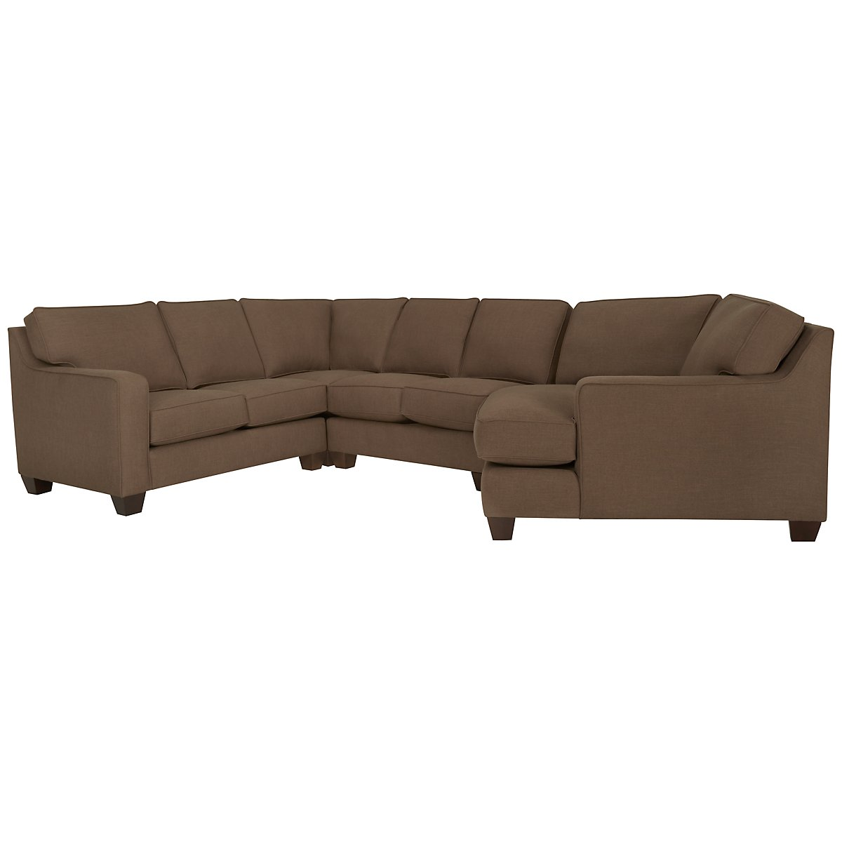 York Dark Brown Fabric Small Right Cuddler Sectional