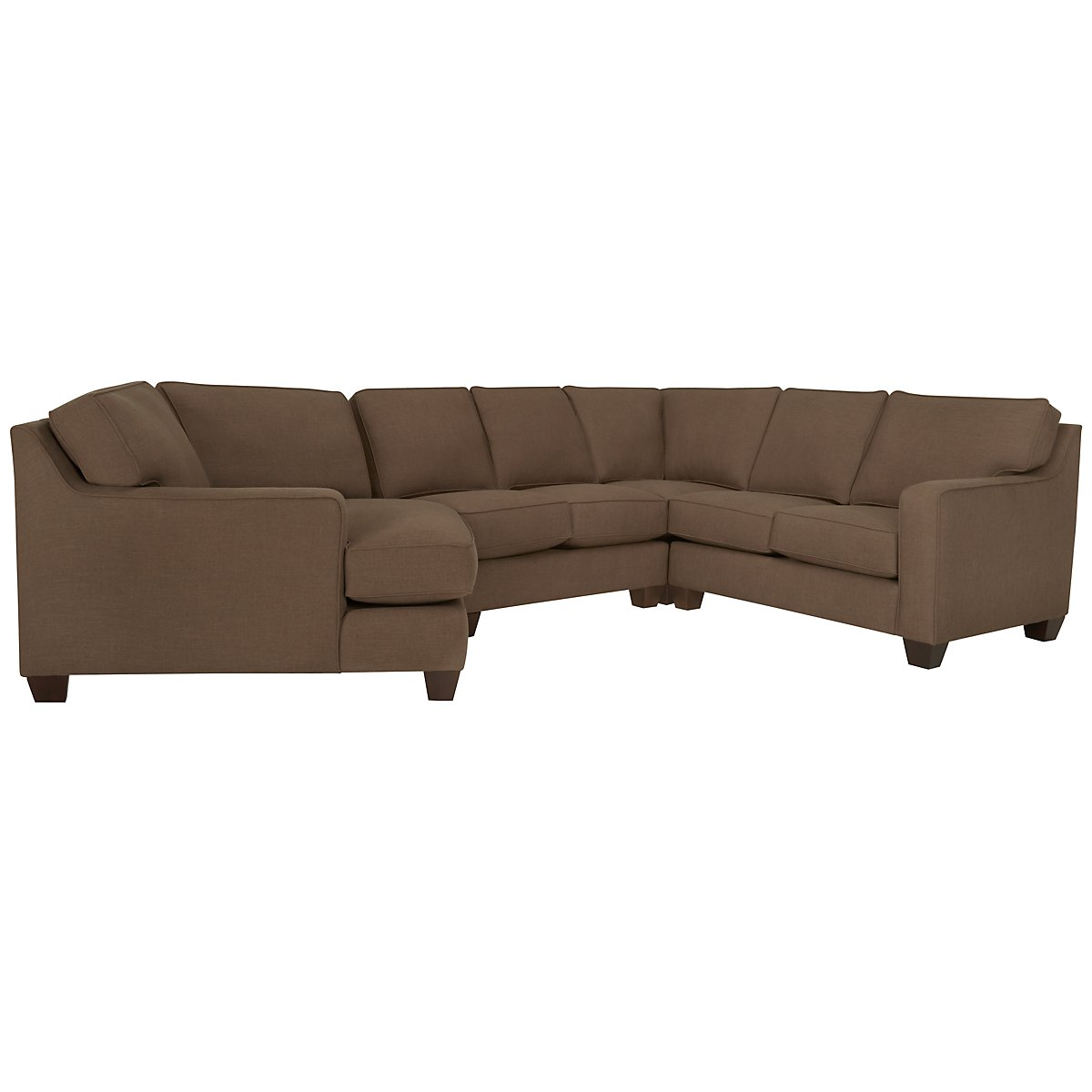 York Dark Brown Fabric Small Left Cuddler Sectional