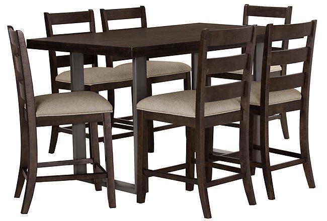 Sawyer Dark Tone Wood High Table & 4 Wood Barstools