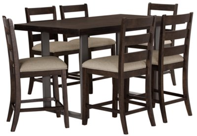 Sawyer Dark Tone High Table U0026 4 Wood Barstools