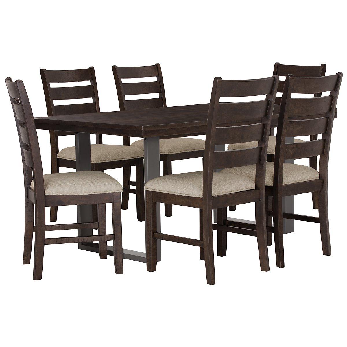 Sawyer Dark Tone Rectangular Table & 4 Wood Chairs