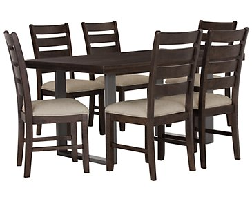 Sawyer Dark Tone Rectangular Table & 4 Wood Chairs