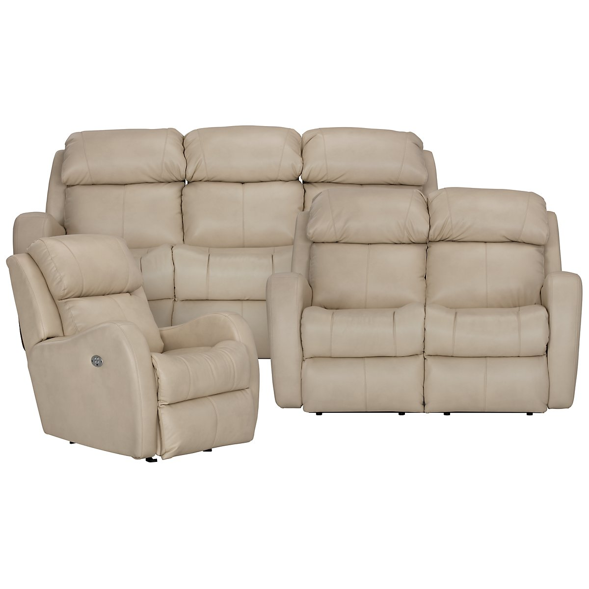Finn Light Beige Microfiber Manually Reclining Living Room
