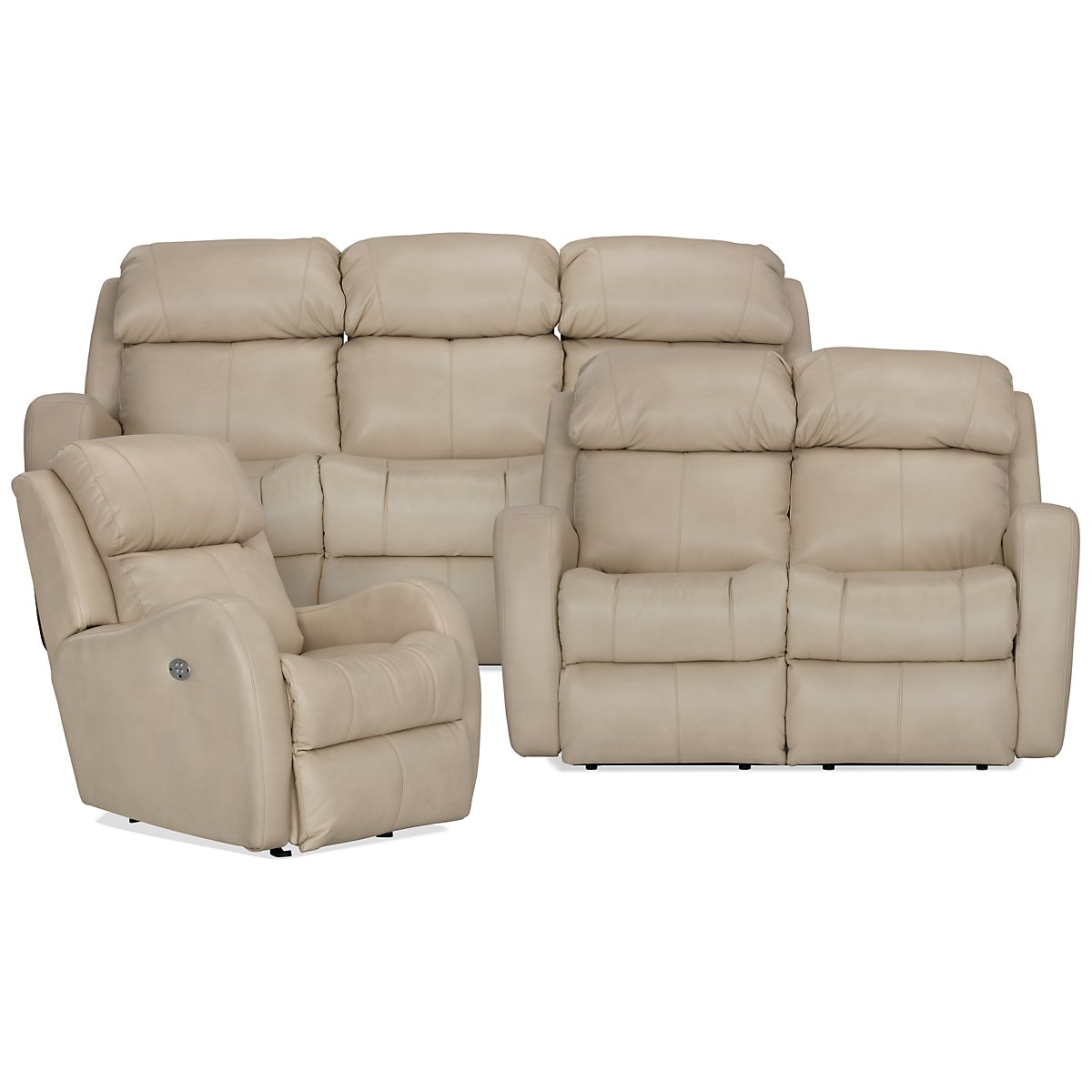 Finn Light Beige Microfiber Power Reclining Living Room