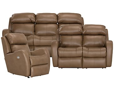 Finn Brown Microfiber Manually Reclining Living Room