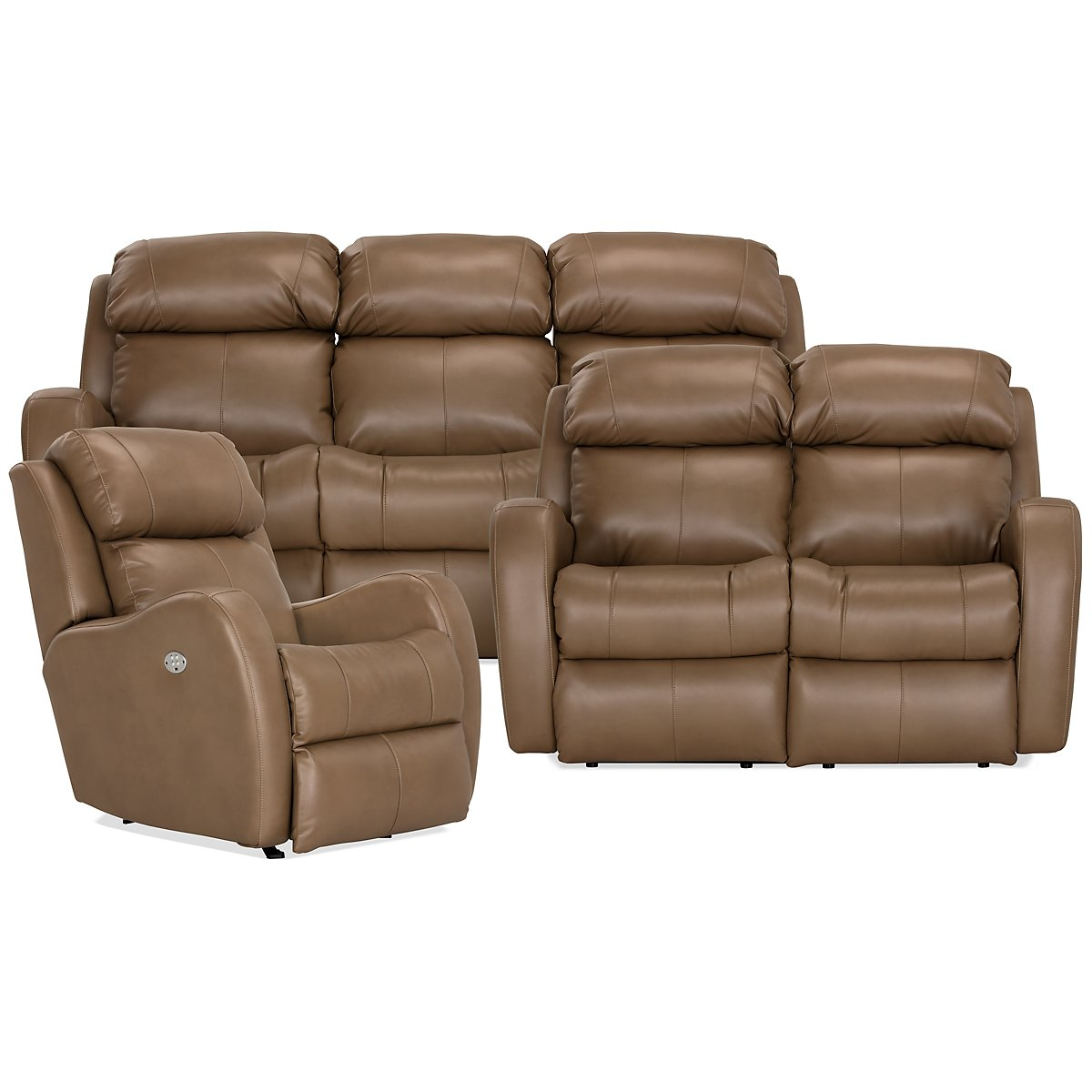 City Furniture Finn Brown Microfiber Power Reclining Sofa