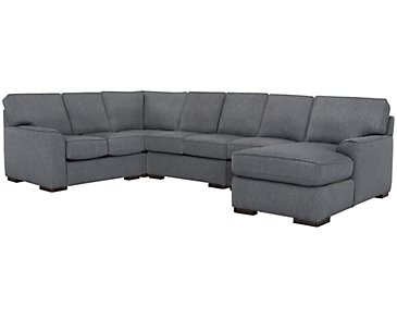 Austin Blue Fabric Large Right Chaise Sectional