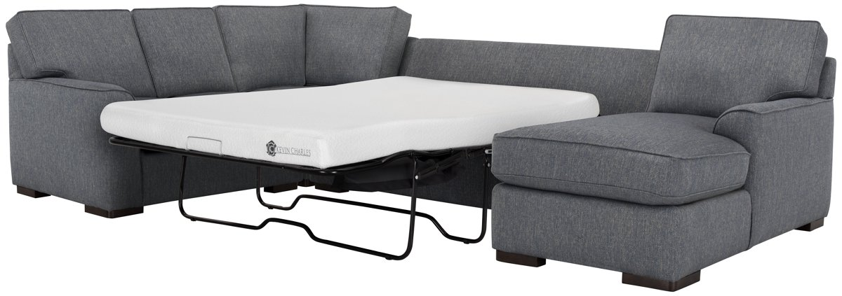 Austin Blue Fabric Right Chaise Memory Foam Sleeper Sectional