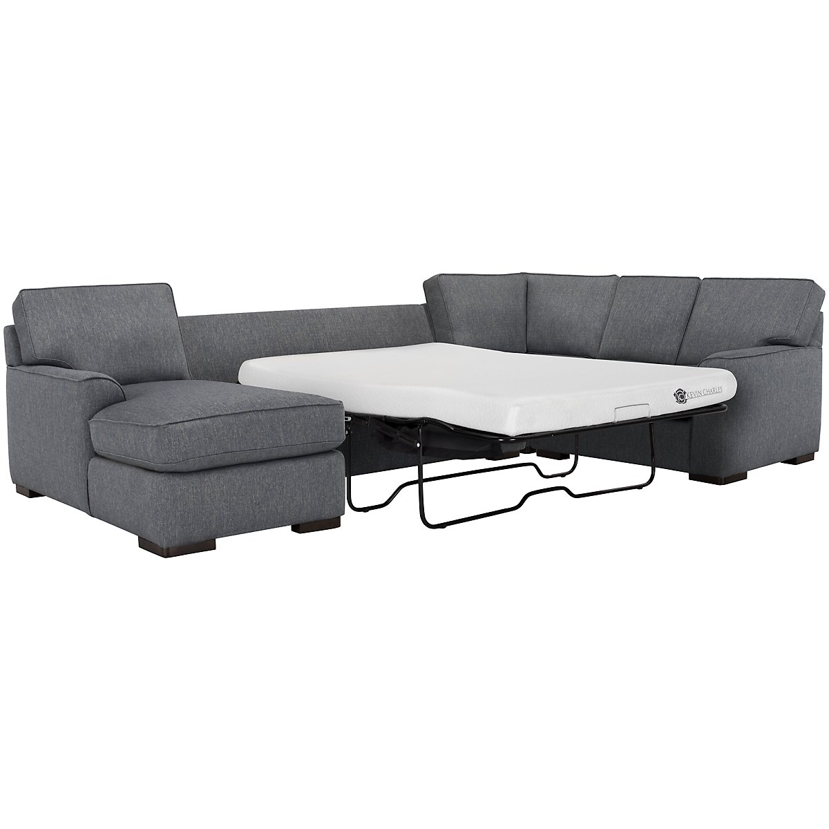 Austin Blue Fabric Left Chaise Memory Foam Sleeper Sectional