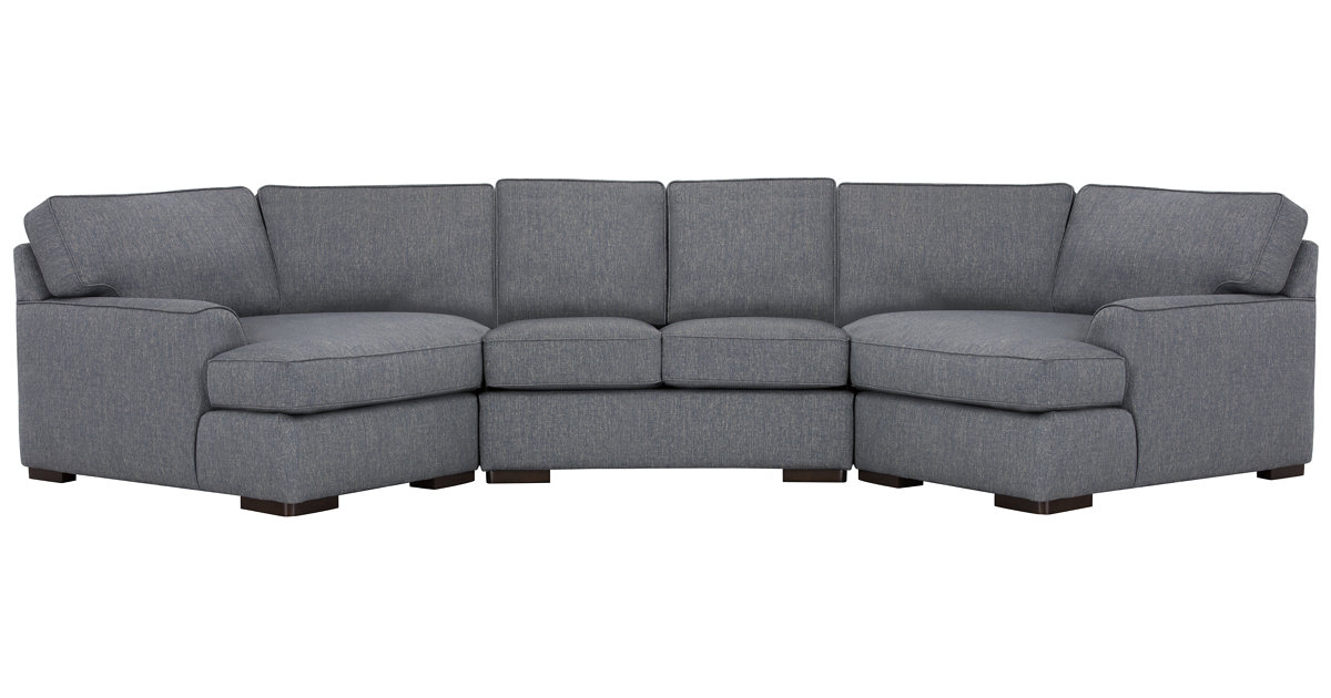 City Furniture Austin Blue Fabric Dual Cuddler Sectional