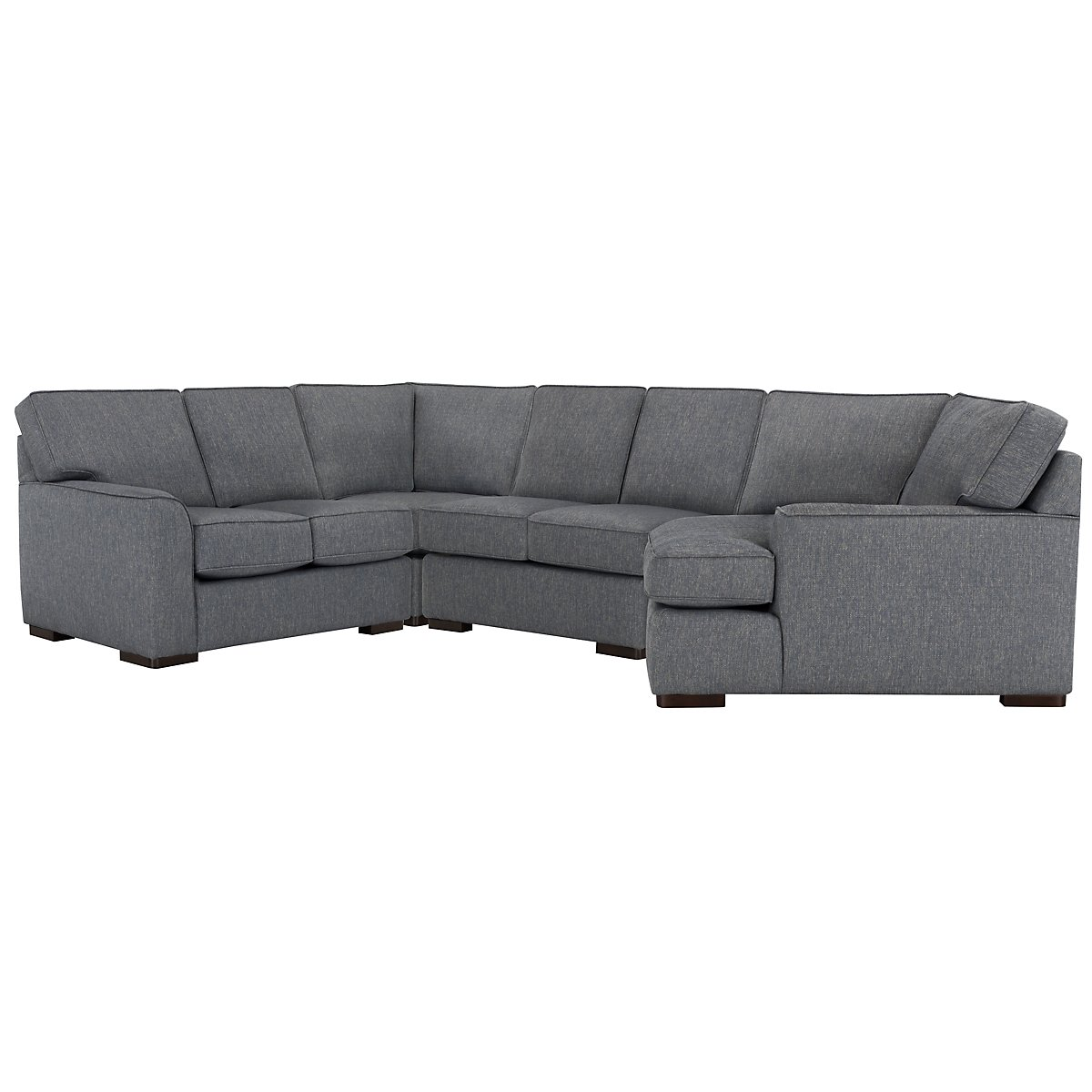 Austin Blue Fabric Small Right Cuddler Sectional