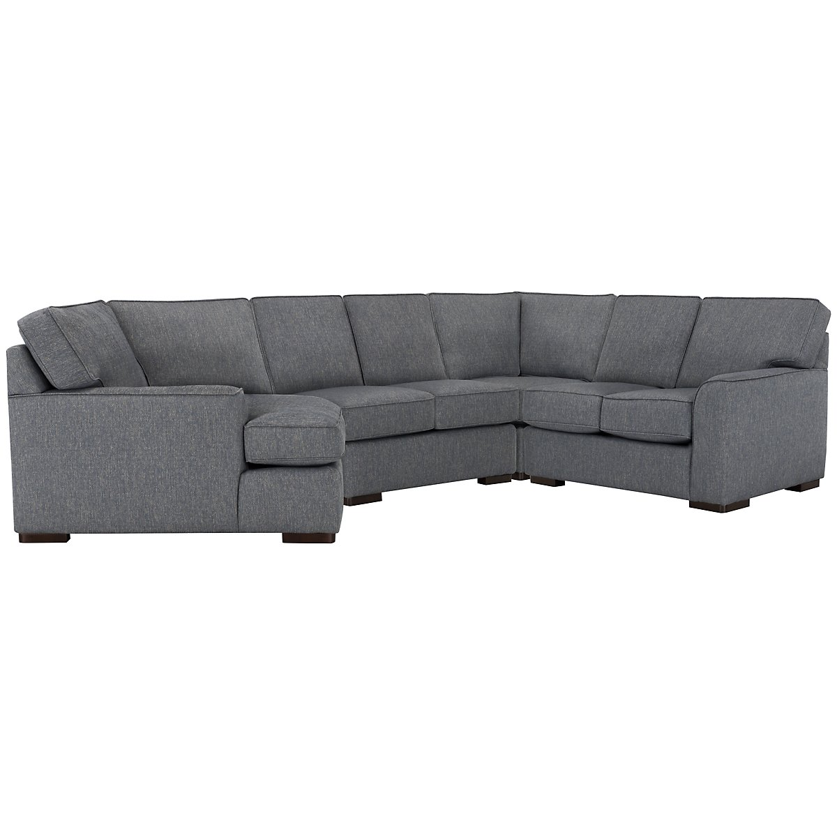Austin Blue Fabric Small Left Cuddler Sectional