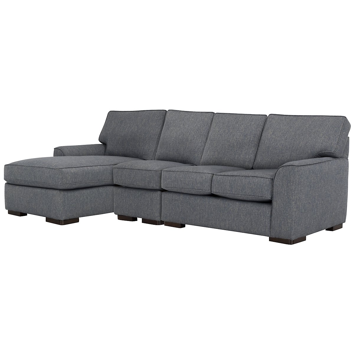 Austin Blue Fabric Small Left Chaise Sectional