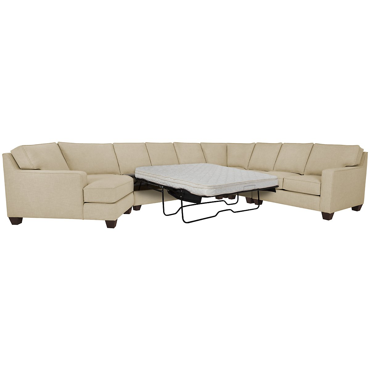 York Beige Fabric Large Left Cuddler Innerspring Sleeper Sectional