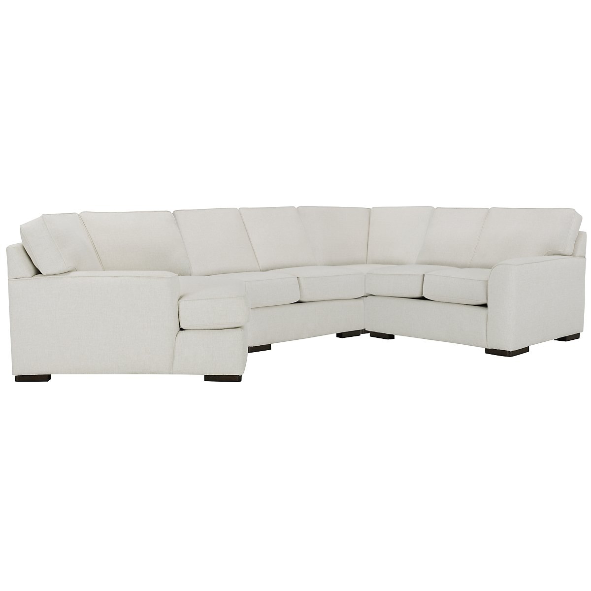 Austin White Fabric Small Left Cuddler Sectional