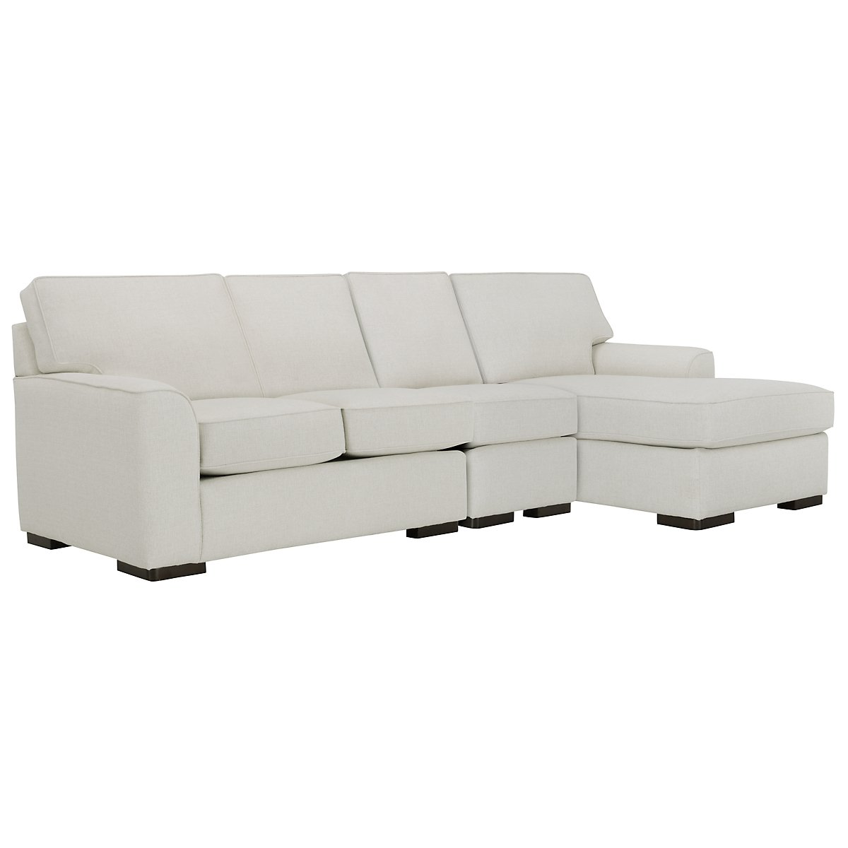 Austin White Fabric Small Right Chaise Sectional