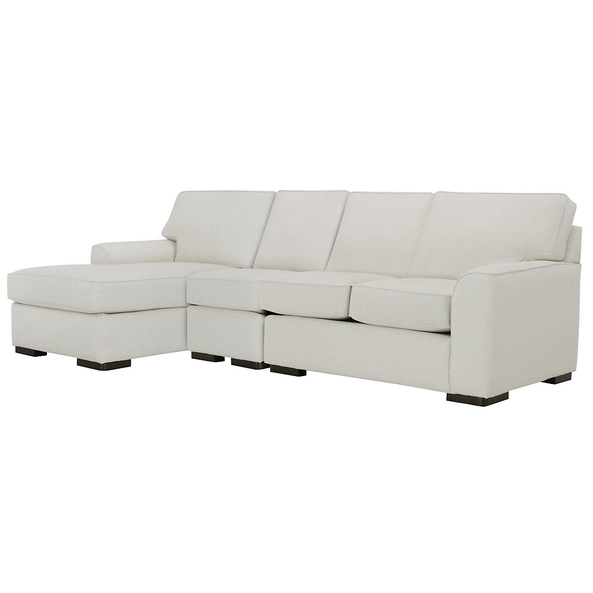 Austin White Fabric Small Left Chaise Sectional