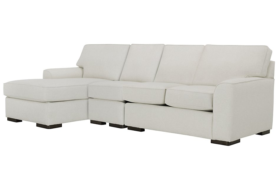 Magnificent Austin White Fabric Small Left Chaise Sectional Living Machost Co Dining Chair Design Ideas Machostcouk