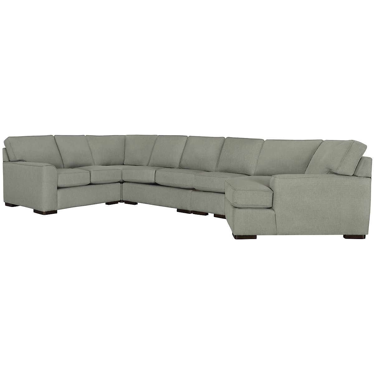 Austin Green Fabric Large Right Cuddler Sectional