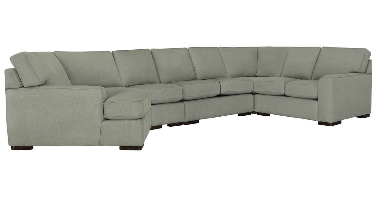 City Furniture Austin Green Fabric Left Cuddler Sectional
