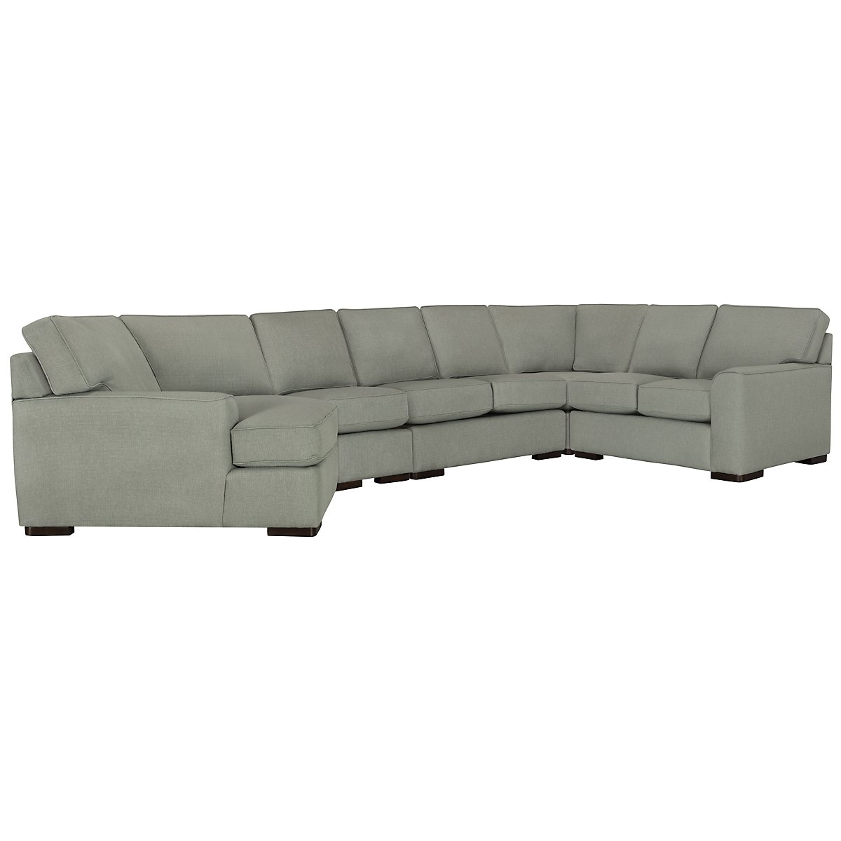 Austin Green Fabric Large Left Cuddler Sectional | Living Room ...