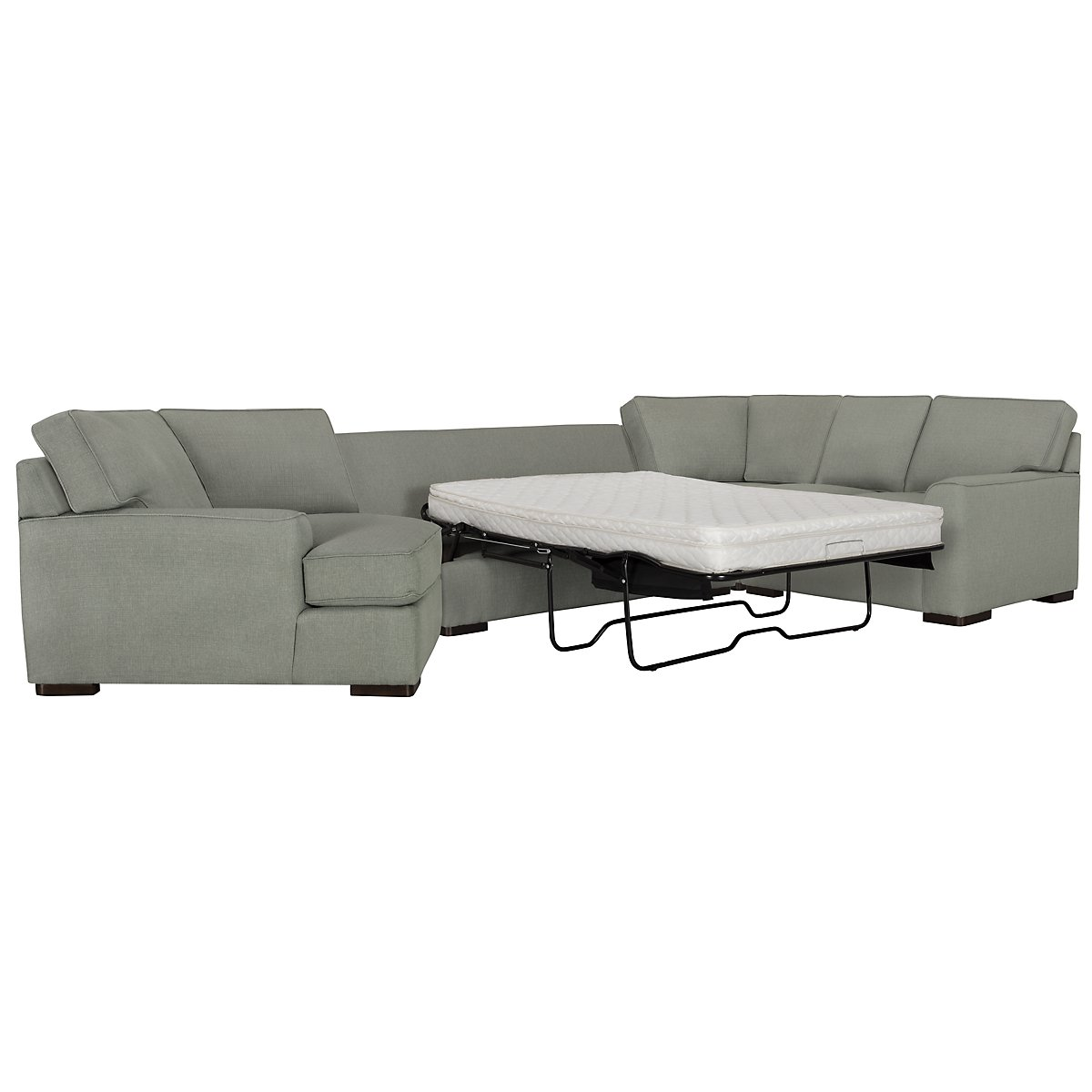 Austin Green Fabric Left Cuddler Innerspring Sleeper Sectional
