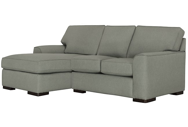 Austin Green Fabric Left Chaise Sectional