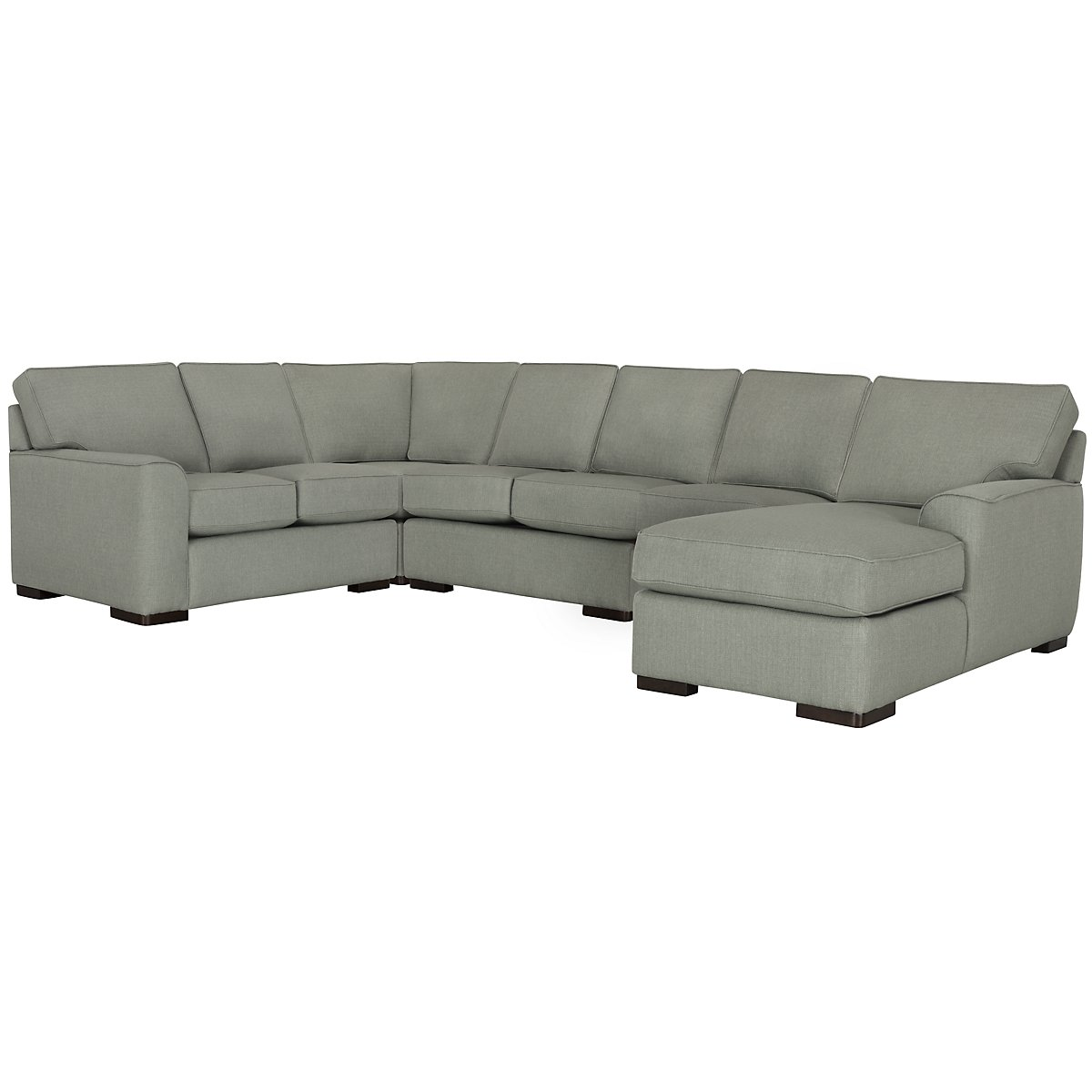 Austin Green Fabric Large Right Chaise Sectional