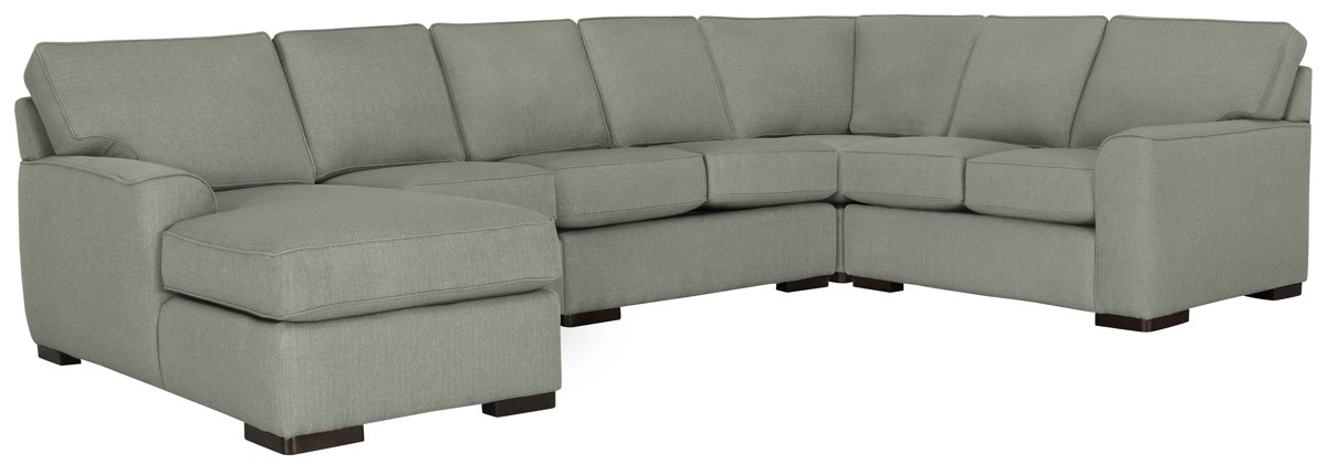 Austin Green Fabric Large Left Chaise Sectional