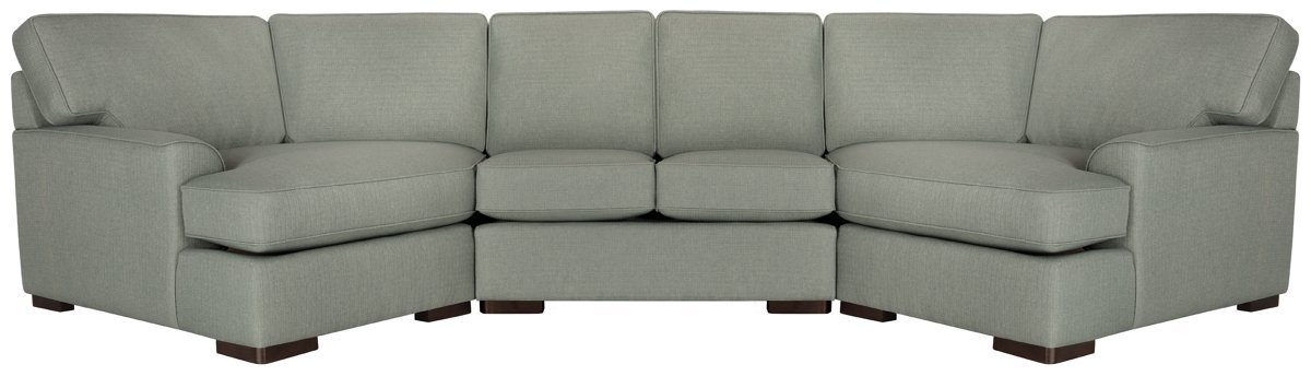 Austin Green Fabric Dual Cuddler Sectional