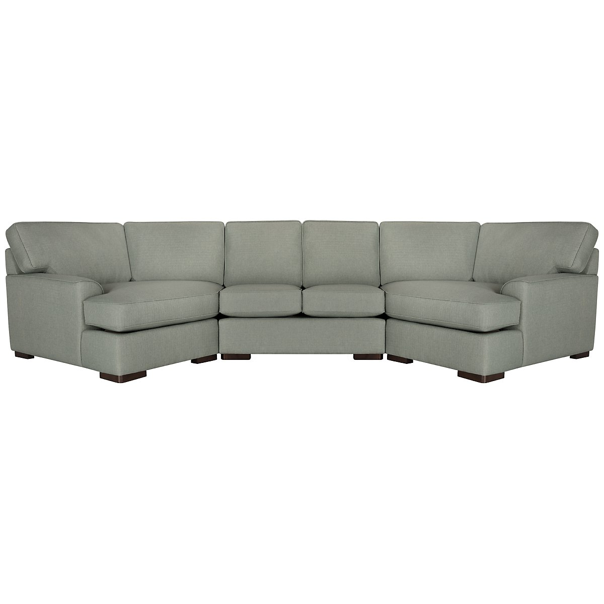 Austin Green Fabric Dual Cuddler Sectional
