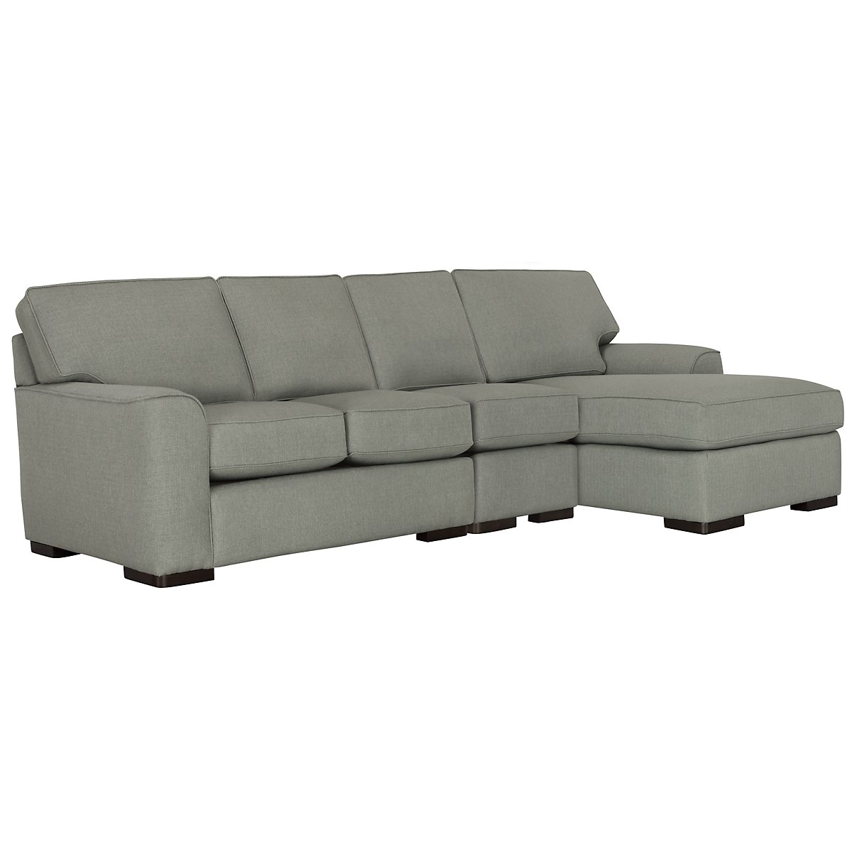 Austin Green Fabric Small Right Chaise Sectional
