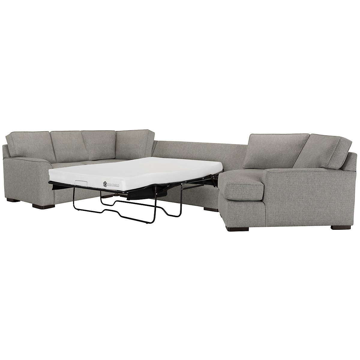 Austin Gray Fabric Right Cuddler Memory Foam Sleeper Sectional