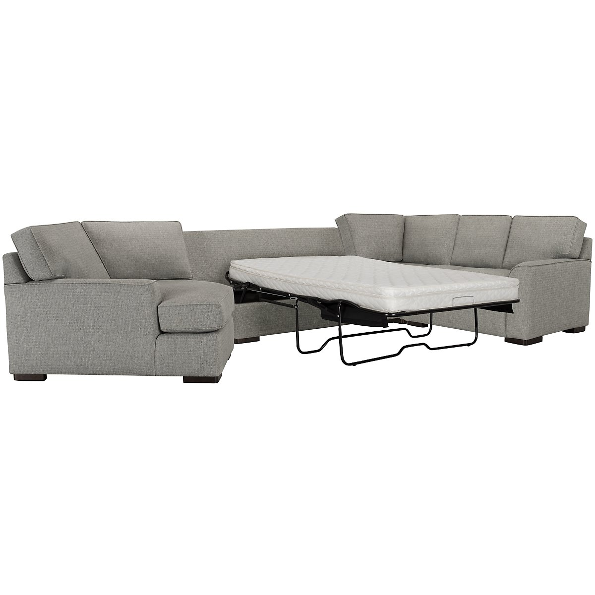 Austin Gray Fabric Left Cuddler Innerspring Sleeper Sectional