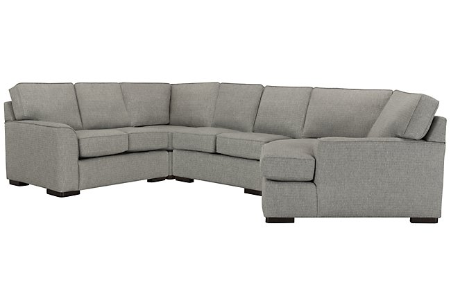 Austin Gray Fabric Small Right Cuddler Sectional | Living ...