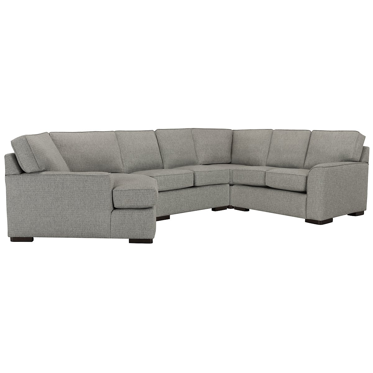 City furniture austin gray fabric small left cuddler for Small sectional sofa with cuddler