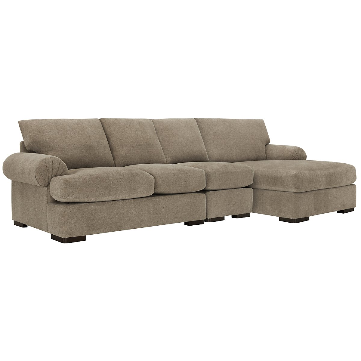 Belair Dark Taupe Fabric Small Right Chaise Sectional