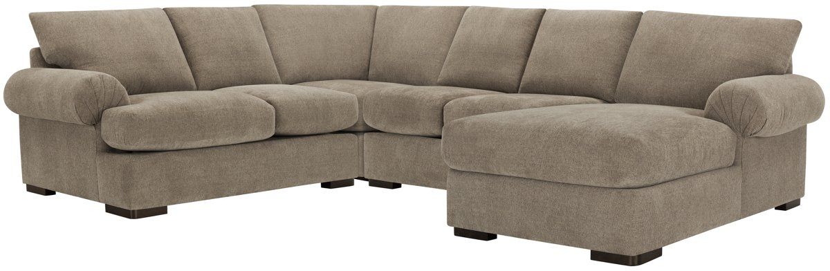 Belair Dark Taupe Fabric Medium Right Chaise Sectional
