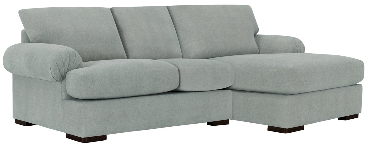 Belair Light Blue Fabric Right Chaise Sectional