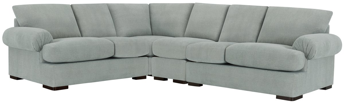Belair Light Blue Fabric Large Two-Arm Sectional