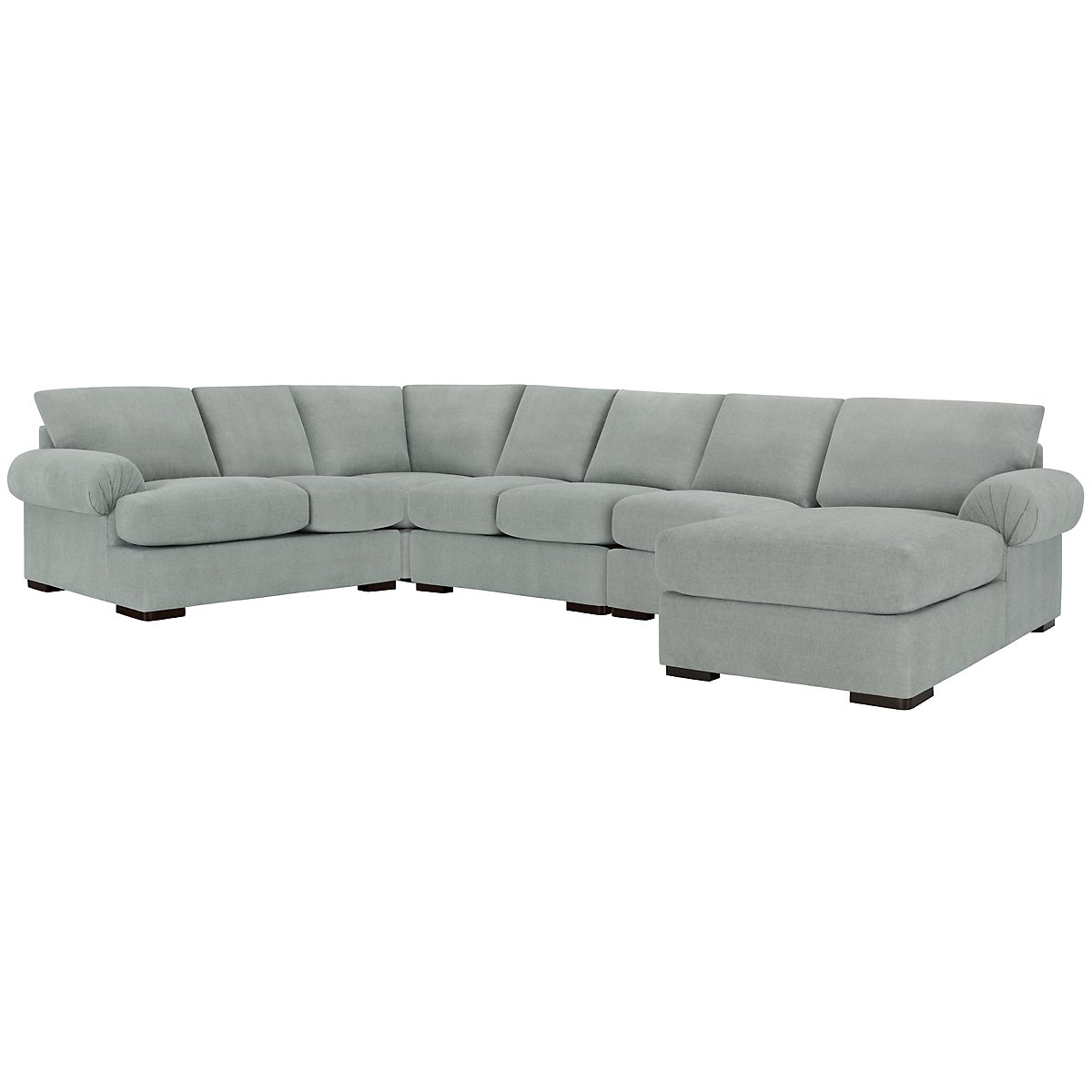 Belair Light Blue Fabric Large Right Chaise Sectional