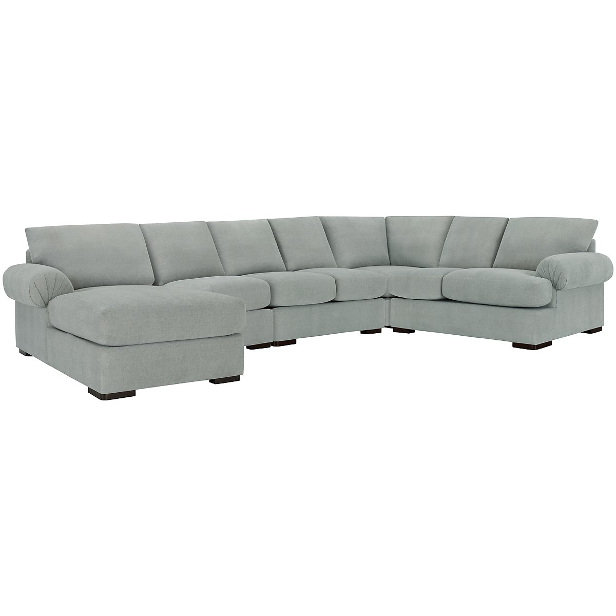 Belair Light Blue Fabric Large Left Chaise Sectional