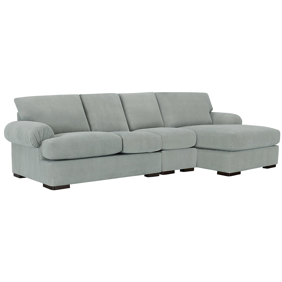 Belair Light Blue Fabric Small Right Chaise Sectional